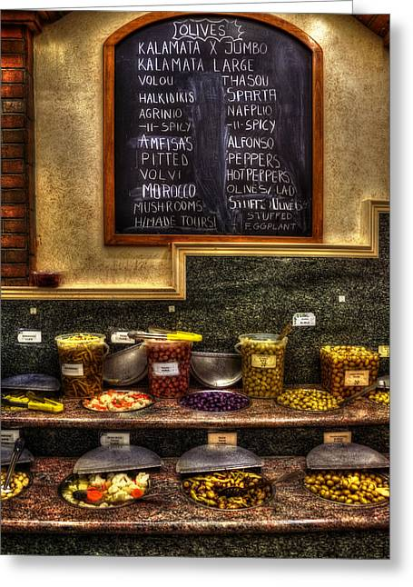 Ethnic Food Greeting Cards - Olive Bar - Astoria New York Greeting Card by Joann Vitali