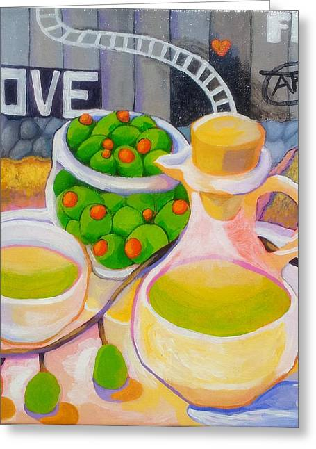 Democracy Paintings Greeting Cards - Olives Behind A Wall Greeting Card by Corey Habbas