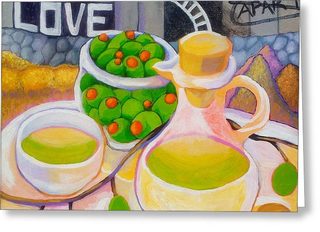 Olives Behind A Wall Greeting Card by Corey Habbas