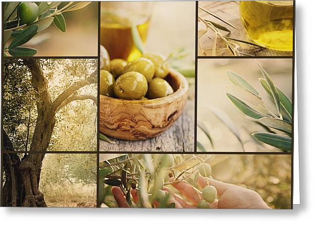 Olive Oil Greeting Cards - Olives collage Greeting Card by Mythja  Photography