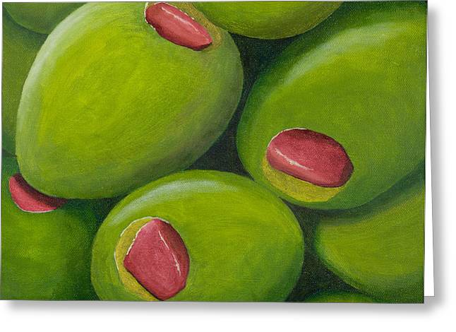 Olive Green Greeting Cards - Olives Greeting Card by Garry McMichael