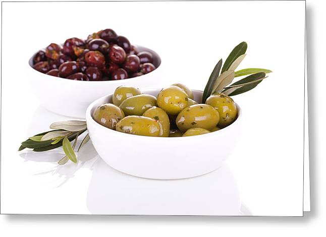 Healthy Herbs Greeting Cards - Olives Greeting Card by Jane Rix