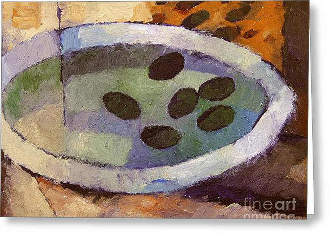 Olive Green Greeting Cards - Olives Greeting Card by Lutz Baar