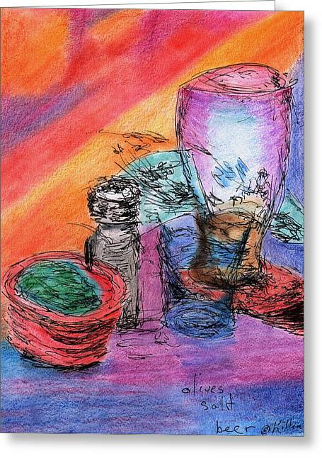 Red Wine Prints Greeting Cards - Olives Salt Beer Greeting Card by William Killen