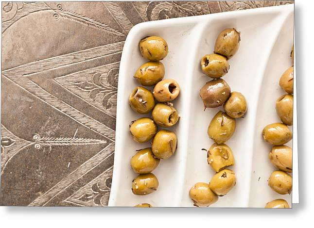 Olives Greeting Card by Tom Gowanlock