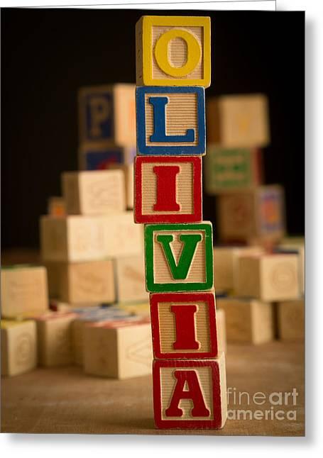 Olivia Greeting Cards - OLIVIA - Alphabet Blocks Greeting Card by Edward Fielding