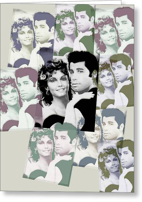 Musical Film Mixed Media Greeting Cards - Olivia Newton John and John Travolta in Grease Collage Greeting Card by Tony Rubino