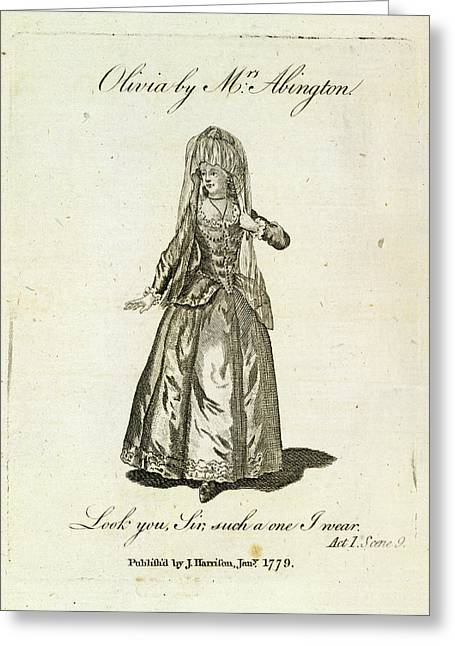 Olivia Played By Mrs Abington Greeting Card by British Library