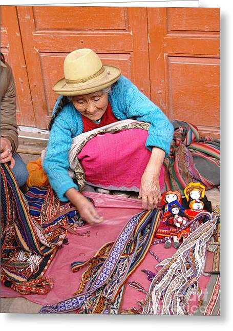 Fineartamerica Greeting Cards - Ollantaytambo Peru Market Greeting Card by Eva Kaufman