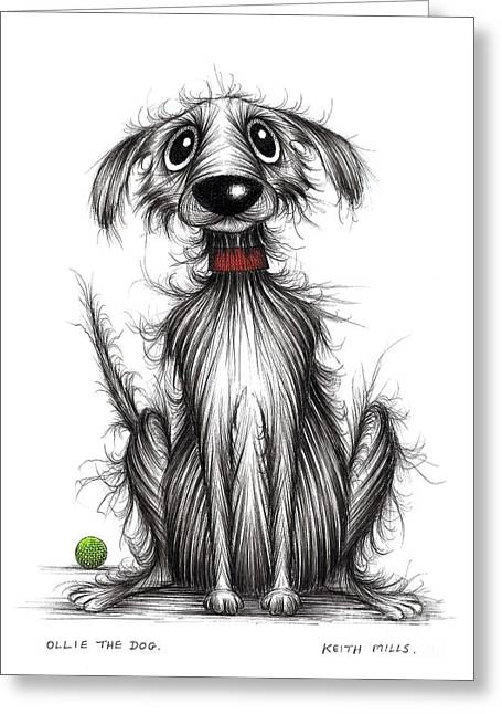 Ollie Greeting Cards - Ollie the dog Greeting Card by Keith Mills