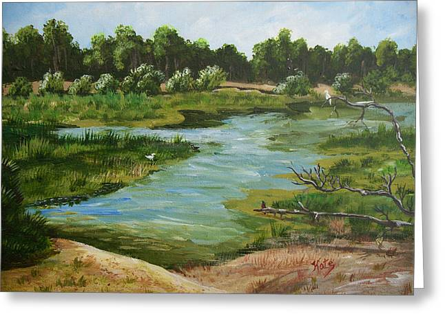 Ollie Greeting Cards - Ollies Pond one Greeting Card by Kathy Przepadlo