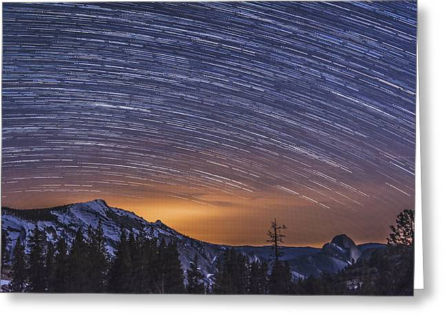 Stars Trail Greeting Cards - Olmstead Point Star Trails Greeting Card by Cat Connor