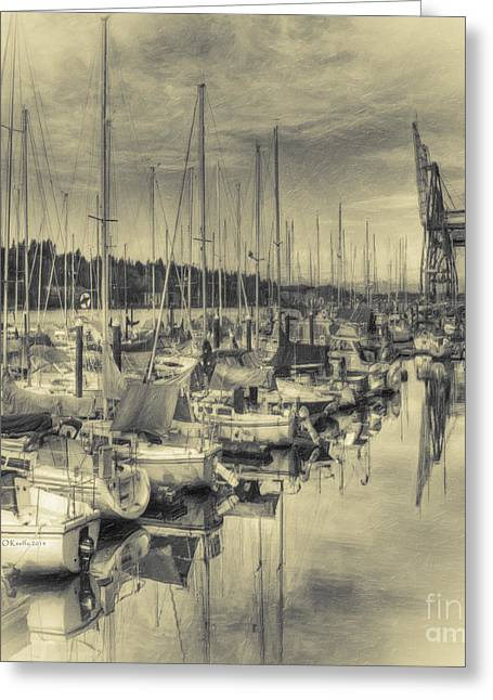 Sailboat Photos Greeting Cards - Olympia Marina 3 Greeting Card by Jean OKeeffe Macro Abundance Art