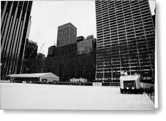 Manhatan Greeting Cards - olympia zamboni ice clearer clearing the ice at Bryant Park ice skating rink new york city Greeting Card by Joe Fox