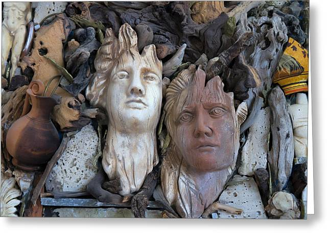 Wooden Sculpture Greeting Cards - Olympian gods Greeting Card by Gillian Singleton