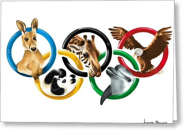 Animal Sport Greeting Cards - Olympic animals Greeting Card by Veronica Minozzi