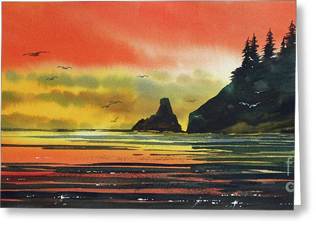 Landscape Framed Prints Greeting Cards - Olympic Coast Sunset Greeting Card by James Williamson