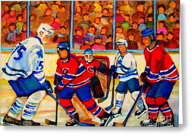 Puck Handling Greeting Cards - Olympic  Hockey Hopefuls  Painting By Montreal Hockey Artist Carole Spandau Greeting Card by Carole Spandau
