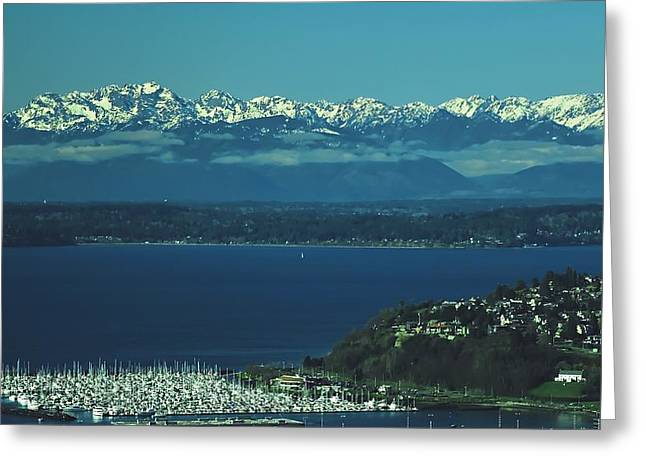 Snow Capped Greeting Cards - Olympic Mountain Range Greeting Card by Lance Chennault
