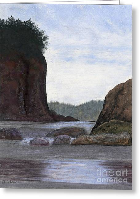 Pacific Northwest Pastels Greeting Cards - Olympic Peninsula Beach Greeting Card by Ginny Neece