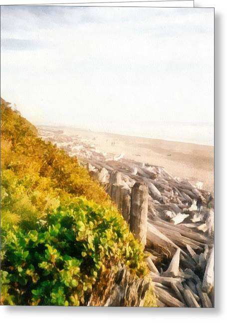 Best Sellers -  - Foggy Beach Greeting Cards - Olympic Peninsula Driftwood Greeting Card by Michelle Calkins
