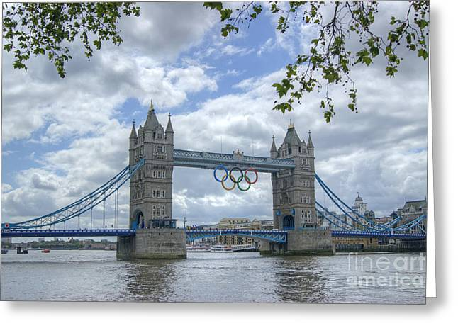 David Birchall Greeting Cards - Olympic Rings on Tower Bridge Greeting Card by David Birchall