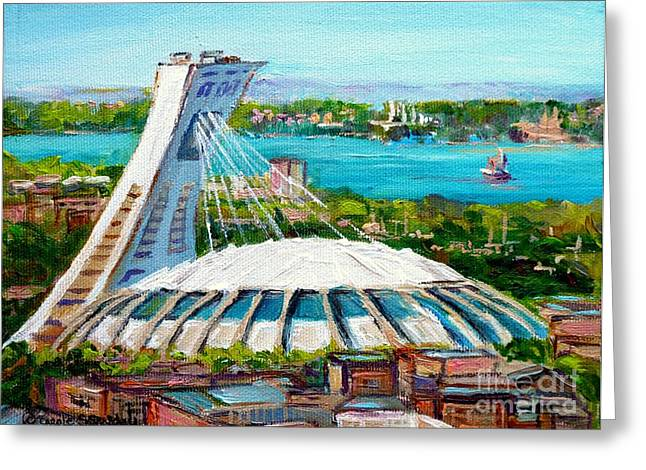 Canadian Heritage Paintings Greeting Cards - Olympic Stadium Montreal Painting Velodrome Biodome Heritage Art By City Scene Artist Carole Spandau Greeting Card by Carole Spandau