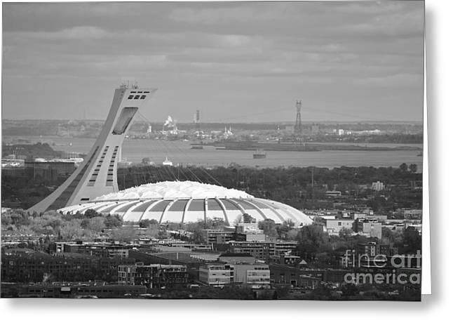 Stadium Scene Paintings Greeting Cards - Olympic Stadium Montreal Greeting Card by Reb Frost