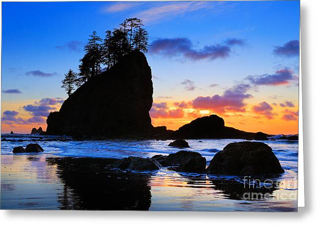 Harmonious Photographs Greeting Cards - Olympic Sunset Greeting Card by Inge Johnsson