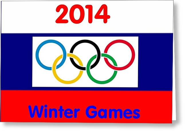 Olympic Symbol  Russian Flag Greeting Card by Florene Welebny