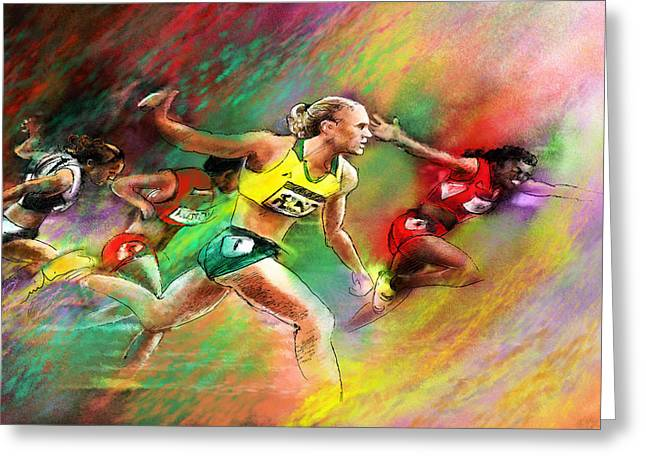 Gold Medals Mixed Media Greeting Cards - Olympics 100 metres hurdles Sally Pearson Greeting Card by Miki De Goodaboom