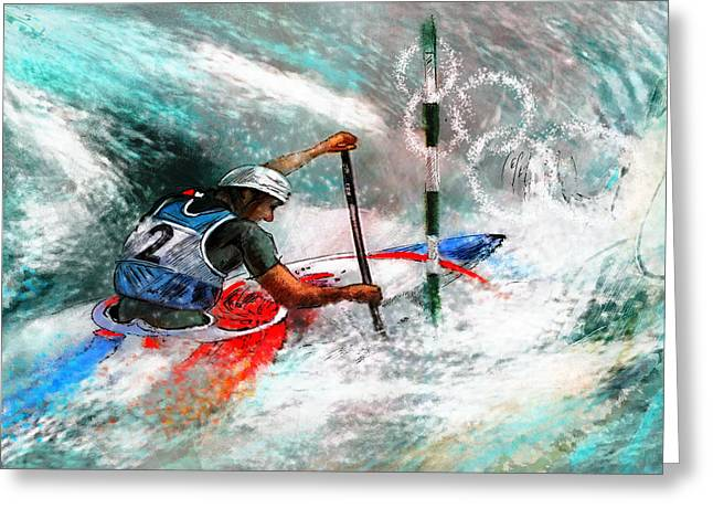 Gold Medals Mixed Media Greeting Cards - Olympics Canoe Slalom 02 Greeting Card by Miki De Goodaboom