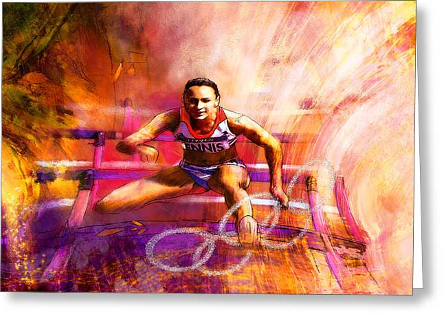 Olympics Heptathlon Hurdles 02 Greeting Card by Miki De Goodaboom