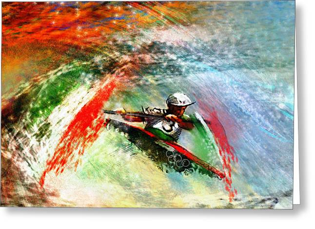 Gold Medals Mixed Media Greeting Cards - Olympics Kayaking 02 Greeting Card by Miki De Goodaboom