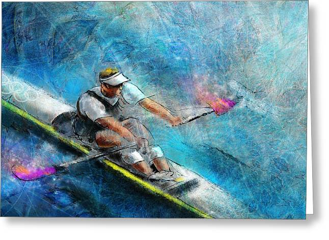 Drysdale Greeting Cards - Olympics Rowing 01 Greeting Card by Miki De Goodaboom