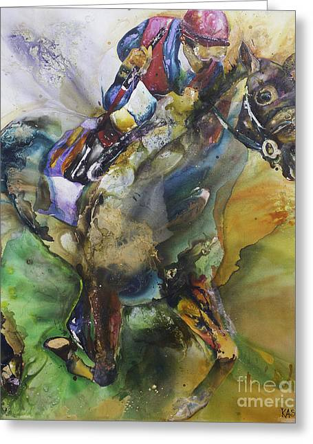 Recently Sold -  - Race Horse Greeting Cards - Olympus Greeting Card by Kasha Ritter