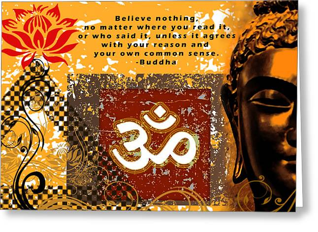 Tibetan Buddhism Greeting Cards - OM - Buddha Greeting Card by RSRLive Arts