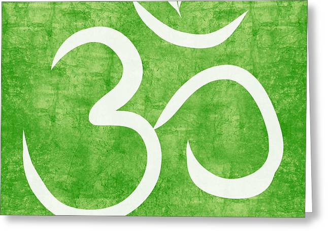 Yoga Greeting Cards - Om Green Greeting Card by Linda Woods