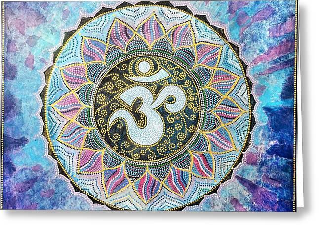 Good Karma Greeting Cards - OM Mandala Greeting Card by Agnieszka Szalabska
