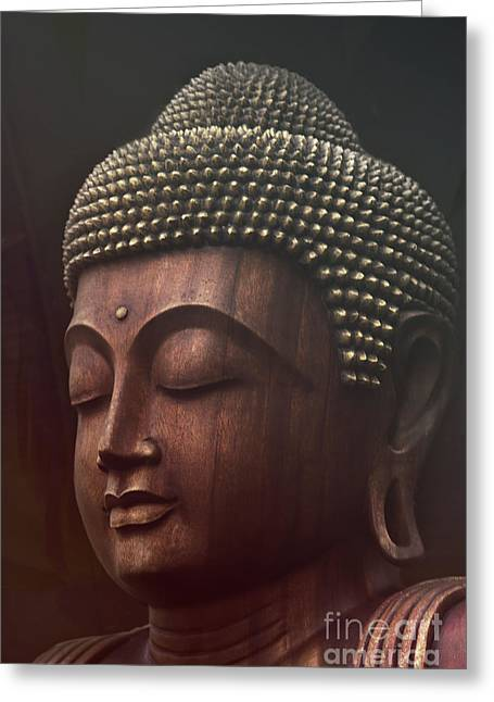 Courage Greeting Cards - Om mani padme hum  - buddha Greeting Card by Sharon Mau