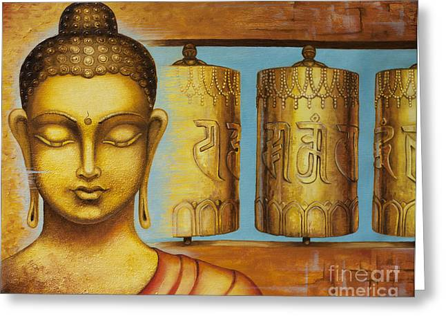 Tibetan Buddhism Greeting Cards - Om Mani Padme Hum Greeting Card by Yuliya Glavnaya