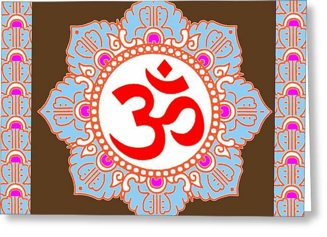 Diy Wedding Flowers Greeting Cards - OM MANTRA OMmantra Greeting Card by Navin Joshi