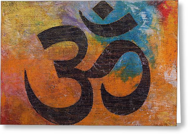 Contemporary Symbolism Greeting Cards - Om Greeting Card by Michael Creese
