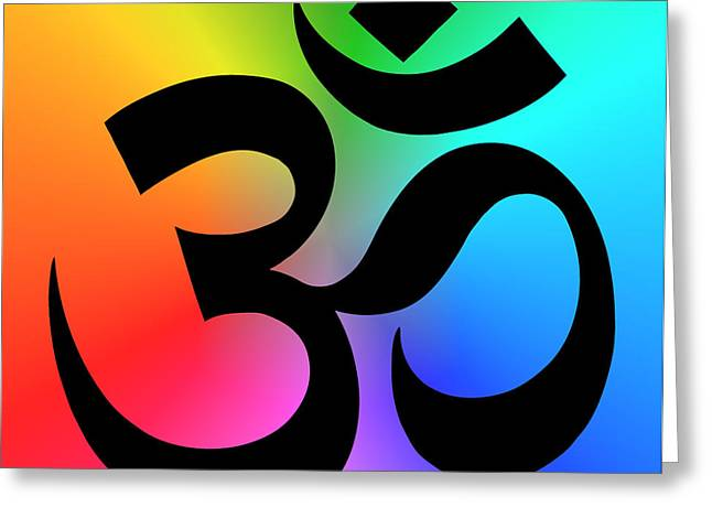Jainism Greeting Cards - OM or AUM MANTRA SYMBOL Greeting Card by Daniel Hagerman