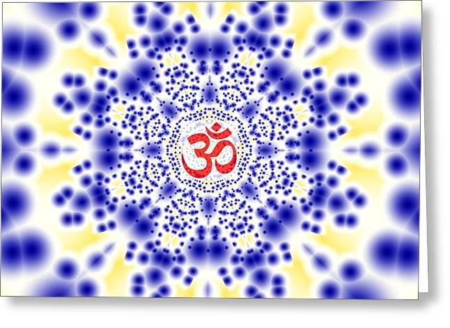 Hindu Goddess Greeting Cards - Om Polka Dots Greeting Card by M Rao
