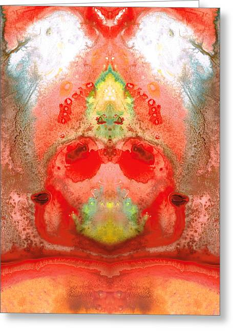 Fantasy Creature Greeting Cards - Om - Red Meditation - Abstract Art By Sharon Cummings Greeting Card by Sharon Cummings