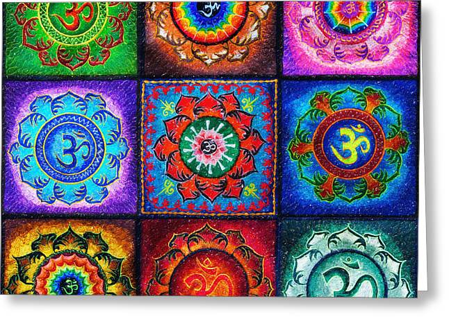 Sacred Digital Art Greeting Cards - OM Squared Greeting Card by Tim Gainey