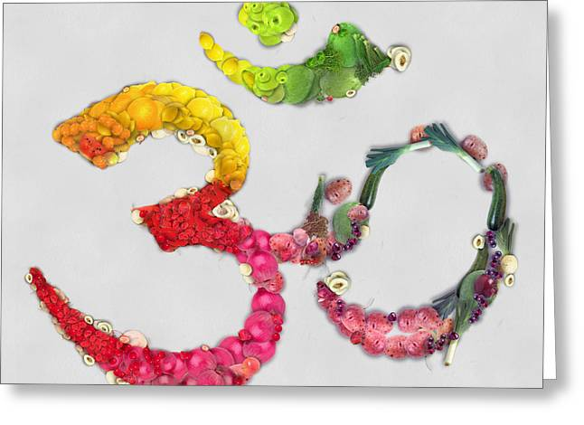 Hindu Goddess Greeting Cards - Om symbol fruits and vegetables Greeting Card by Eti Reid