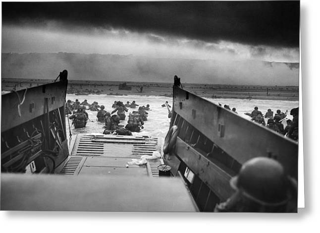 Marines Greeting Cards - Omaha Beach in Normandy Greeting Card by Celestial Images