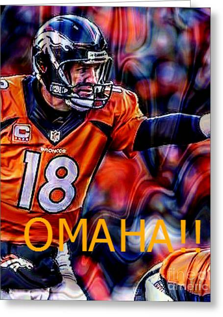 Broncos Mixed Media Greeting Cards - Omaha Greeting Card by M and L Creations